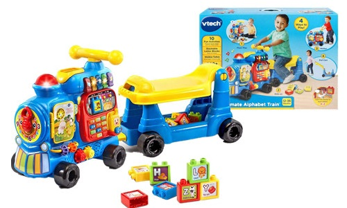 Blue Alphabet Train toy with gift box