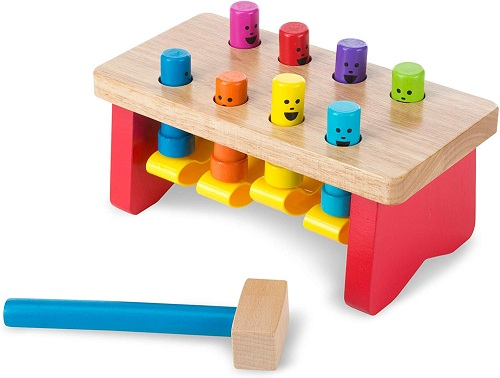 colorful pounding bench