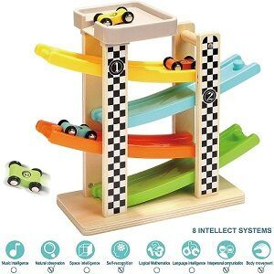 Wooden Ramp racser with-4-mini-cars