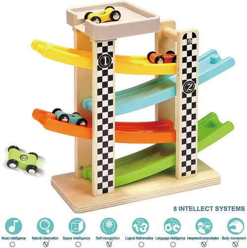 Wooden Ramp racser with 4 mini cars
