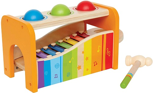 Wooden musical pounding toy