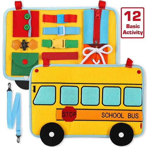 Toys for hyperactive toddlers-bus style activity board