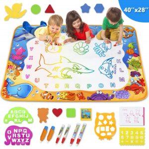 children drawing on a water doodle mat