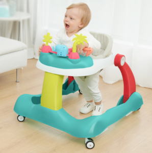 a baby siting with a baby walker