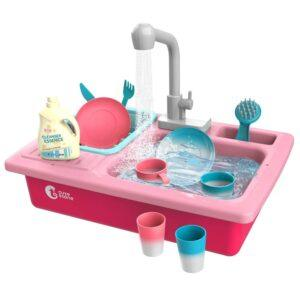 pretend play-pink kitchen sink toy
