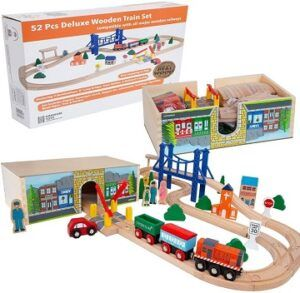 Orbrium-52 pcs wooden train sets for toddlers