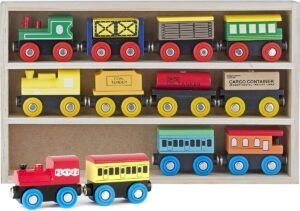 Play22 12 PCS wooden train sets for toddlers