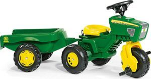 ride on tractors for toddlers-green color Rolly John Deere 3 Wheel Tractor with trailer