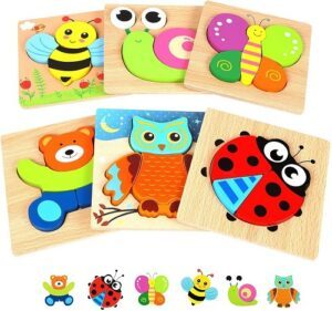 Montessori materials for toddlers-Wooden animals jigsaw puzzle set