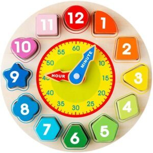 montessori materials for toddlers-Wooden shape sorting clock