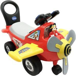 Mickey Mouse Plane Ride-On Toy in red and yellow color