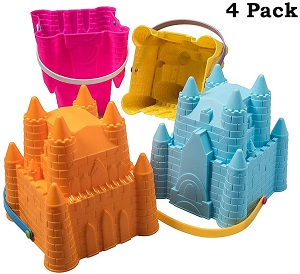 4 packs Sand Castle Building Kit-pink blue yellow orange