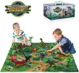 TEMI Dinosaur Toy Set with playmat