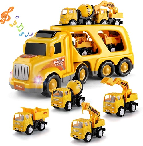 TEMI Construction Vehicles Transport Truck Carrier Toy with 4 mini trucks